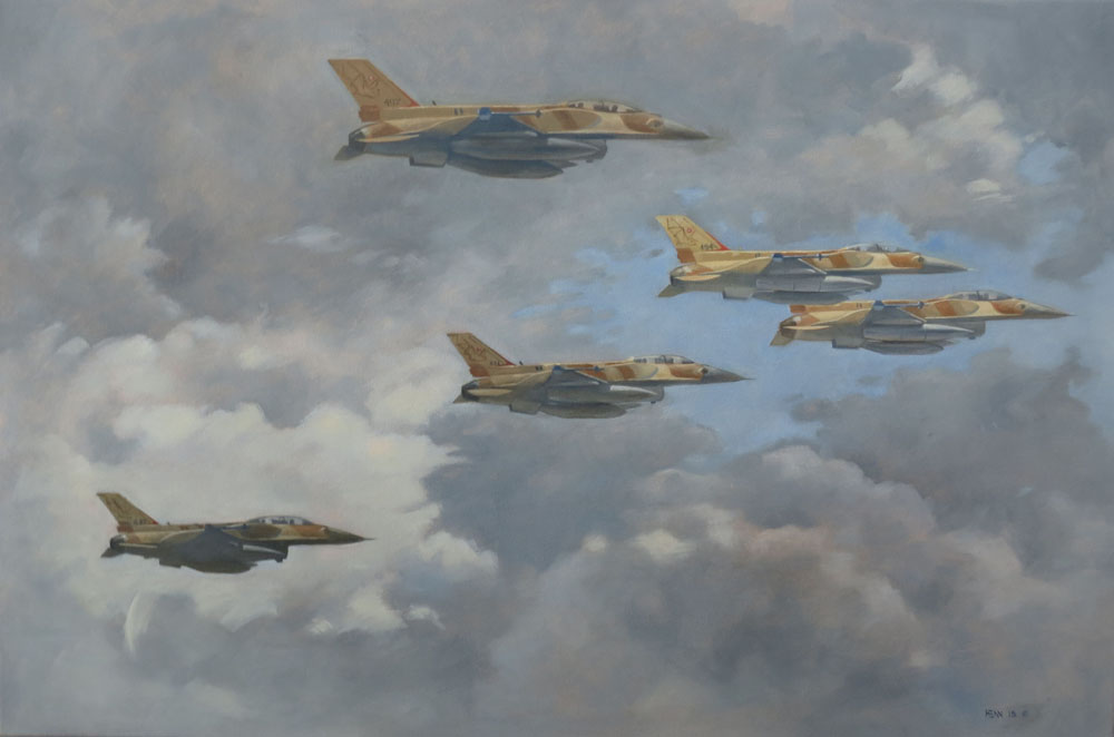 F16 fighters oil painting Mark Henn Bats over Galilee